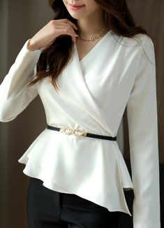 Asymmetric V-Neck Wrap Style Peplum Blouse Korean Women`s Fashion Shopping Mall, Styleonme. New Arrivals Everyday and Free International Shipping Available. Casual Tops For Women, Blouses For Women, Blouse Peplum, Mode Outfits, Fashion Outfits, Women's Fashion, Formal Blouses, Modern Hijab Fashion, Classy Outfits