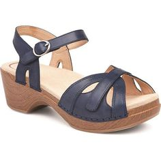 Uncommon comfort and unexpected style are always in Season and accommodates almost any foot typeAdjustable buckle closure around the ankleAdjustable hook-and-loop closure system for the forefootAnatomically contoured, rocker bottom outsole Sandals Outfit, Strappy Sandals, Black Sandals, Open Toe Shoes, Dansko Shoes, Classy Women, Ankle Strap, Leather, Shank