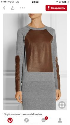 Reed Krakoff - Leather-paneled cashmere, wool and silk-blend sweater Modest Fashion, Hijab Fashion, Fashion Dresses, Look Boho, Mode Outfits, Sewing Clothes, Fashion 2020, Refashion, Blouse