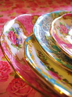 Pink and Aqua vintage saucers