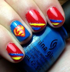 I have brought before you today is all about amazing Superman nail art designs, ideas, trends, stickers & wraps of Superman Nails, Superhero Nails, Superman Logo, Cute Nails, Pretty Nails, Birthday Nail Art, Crazy Nail Art, Cute Nail Designs, Stylish Nails