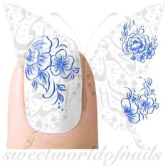 Blue Flowers Nail Water Decals Transfers Wraps