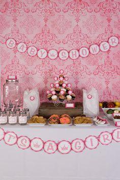 Princess Baby Shower Banner - Hot Pink & Light Pink