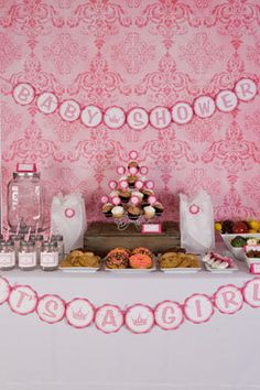 Princess Baby Shower Banner - Hot Pink & Light Pink