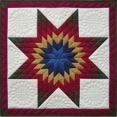 @Overstock - Title: Lone Star Wall Quilt Kit-22x22  Brand: Rachel's of Greenfield    Colors: Blue, red, gold, green and creamhttp://www.overstock.com/Crafts-Sewing/Lone-Star-22-inch-Wall-Quilt-Kit/6268604/product.html?CID=214117 $18.79