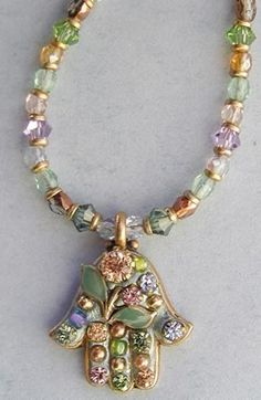 Michal Golan Blue/Green Hamsa Necklace 4