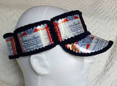 47ecd4ff1d7 Handmade Crochet Budweiser Beer Can Visor by GiftedAcorn on Etsy