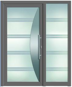Modell Hyperion 1 Aluminium-Eingangstüre in grau mit Seitenteil  - Außenansicht! Sternstunden-Türen erhätlich bei Fenster-Schmidinger aus Gramastetten in Oberösterreich! #doors #türen #alutüren #sternstunden