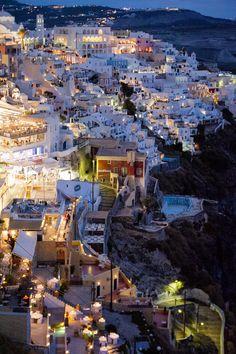 Fira by Night, Santorini, Greece
