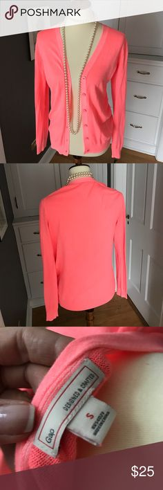Gap cotton cardigan neon coral A must for your summer vacation! Light and breezy bright coral sweater handy at the beach or out at dinner! Soft and cool 100% cotton GAP Sweaters Cardigans