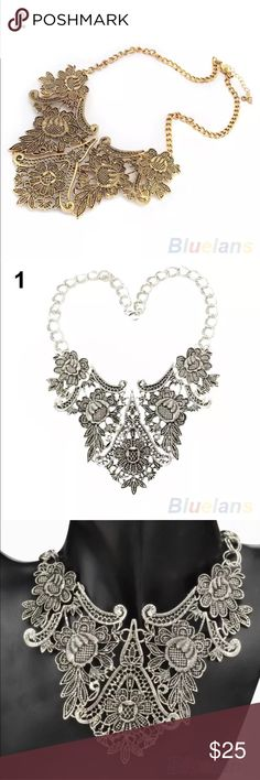 New gold plated statement bib necklace chunky brand new very pretty statement bib chunky gold plated necklace. Antique tribal totem design. Material Alloy.  Check out my closet, we have a variety of women's, Victoria Secret, handbags 👜 purse 👛 Aerosoles, shoes 👠 sandals, Gold, silver, black chocker, fashion jewelry, necklace, clothing, dresses, tops, blouse, skirts, bags, leggings, pants, makeup, Beauty, home 🏡 .  Ships via USPS. Smoke & Pet-Free. Offers 30% OFF bundle discount. Always a…