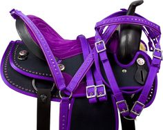 Ohhhh I want this!!! What cowgirl wouldn't want a purple saddle, bridle and halter?!