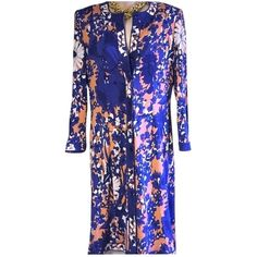 Pre-owned Averardo Bessi Like New 70's Shirt 44 Dress ($351) ❤ liked on Polyvore featuring dresses, none, floral shirt dress, woven dress, preowned dresses, blue floral dress and vintage floral dress