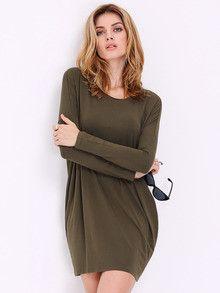 Fall Fashion Green Long Sleeve Casual Dress