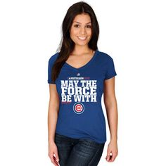 Chicago Cubs Majestic Women's May The Force Be With You Tee - Royal
