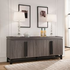 Add rustic flare to your home with this beautiful dining buffet and its lifted border structure. Cabinet doors adorned with dark handles provide safe haven for your stored dinnerware while adding to t