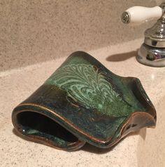 Self Draining Soap Dish - Amazon Green by BTRceramics on Etsy