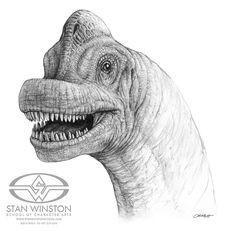 "Stan Winston Studio Dinosaur artist Mark ""Crash"" McCreery's rendering of Jurassic Park's Brachiosaurus."
