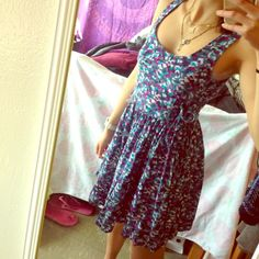 Lace Up Spring Dress Gently worn with normal signs of wear like some unnoticeable threads. Beautiful pattern and laces up ok both sides making it adjustable around the ribs. I think PacSun but marked UO for exposure. Offers are welcome! Bundle for a discount!  help me save for study abroad! ✈️ Urban Outfitters Dresses Mini