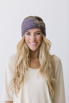 Crystalline Knitted Headband Bohemian Plum Boho Ear Warmer Warm Beaded Head Wrap in Plum on Etsy, $38.00