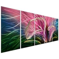 Grace of Nature - Abstract Flower 5-Panel Metal Wall Art Decor of 64    Floral aluminum metal wall art also known as floral metal wall art is a beautiful way to decorate your home.  You can get all kinds of unique, pretty and cool home decorating ideas by combining metal, glass, leather and cloth to really make your home multi dimensional and full of life.