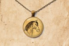 Vintage necklace Horse head pendant Animal by SleepyCatPendants
