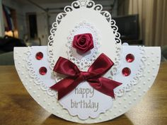burgundy and white Birthday card - rocker style