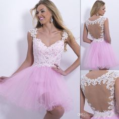 Free shipping, $109.65/Piece:buy wholesale Modest Pink Homecoming Dresses Tulle Appliques Ivory Lace Flowers Beaded Crystals Straps V-neck Backless Short Mini Cheap Prom Gowns 2015 from DHgate.com,get worldwide delivery and buyer protection service.