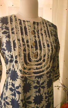 Pretty lace yoke detail Summer kurta in pure cotton by Label Kanupriya Sleeves Designs For Dresses, Neck Designs For Suits, Neckline Designs, Dress Neck Designs, Sleeve Designs, Blouse Designs, Salwar Designs, Printed Kurti Designs, Kurta Designs Women