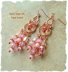 Boho Earrings, Vintage Rose Pink and Copper Chandelier Earrings, Modern Luxe Glamour, BohoStyleMe, Kaye Kraus by BohoStyleMe on Etsy