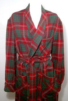 Vintage 1940s 1950s wool robe Men Medium - Women large - deep red green  tartan plaid British Viyella - shawl collar - Caulfeild f31daf0c7