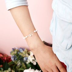 Pearl with Heart String Bracelet Sterling Silver by MAPSYstore, $37.50