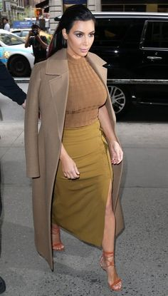 a.L.C Fall 2015 Brown Knit Top & Olive Pin Skirt, Etro Beaded Suede Sandals & Celine Fall 2014 Coat
