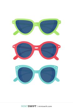 366 Days of Illustration Challenge - Day 237 - MintSwift | One year of vector illustrations challenge. Flat design vector illustration of aseries of green, red & blue sunglasses. View more at mintswift.com #mintswift by Adrianna Leszczynska #illustration #illustrationchallenge #flatillustration #vectorart  #illustrator #flatdesign #vectorillustration #digitalillustration #mintswiftportfolio #mintswiftillustrations #366daysofillustrationchallenge Tennis Set, Web Design Packages, Flat Design Illustration, Business Checks, Blue Sunglasses, Vector Illustrations, New Kids, Business Branding, Red And Blue