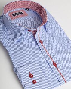 Blue striped dress shirt by Franck Michel Stylish Shirts, Casual Shirts For Men, Men Casual, Mens Printed Shirts, Mens Suits, Custom Shirts, Shirt Style, Couture, Shirt Designs
