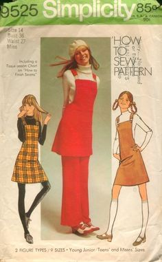 PATTERN Simplicity 9525 ©1971 Simple-To-Sew Young Junior/Teens' and Misses' Mini-Jumper and Pants