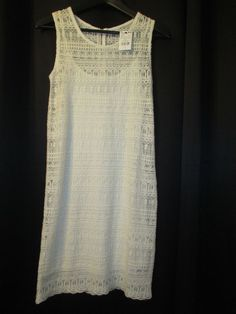 NWT BEIGE KNIT LACE SLEEVELESS DRESS SIZE 2XS BY MNG CASUAL RETAILS  FOR $75- #MNGCASUAL #StretchBodycon #Casual