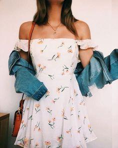 Denim jacket with white floral dress - Denim jacket with white floral dress . - Denim jacket with white floral dress – Denim jacket with white floral dress – {hashtags Source by - Cute Floral Dresses, White Floral Dress, Lovely Dresses, Vintage Dresses, Floral Outfits, White Dress Casual, Cute Casual Outfits, Cute Summer Outfits, Casual Dresses For Girls