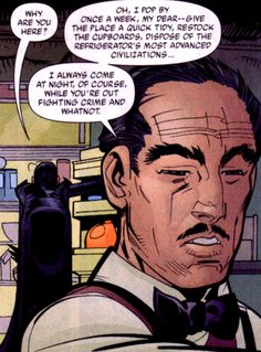 I like to imagine that Alfred visits all his kids on a weekly basis. After all, it's not like they ever learned to clean up after themselves with him around, and Dick's first issues in Bludhaven demonstrate that they don't think to buy groceries...
