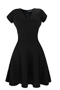 This dress is made of light, soft and comfortable fabric. Please note that you might have to iron this dress before wearing it. Ironing flat & The post Sylvestidoso Women& A-Line Short Sleeve V-Neck Pleated Little Cocktail Party Dress appeared first on . Womens Cocktail Dresses, Black Cocktail Dress, Dress Black, Women's Fashion Dresses, Dress Outfits, A Line Shorts, Buy Dress, Dresses For Sale, Fit And Flare