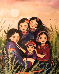 Mother and children hmong inspired art print by claudiatremblay on Etsy
