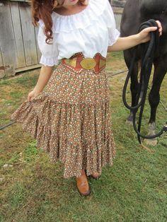 Vintage prairie skirt boho skirt 70s skirt by ElizabethJeanVintage, $30.00