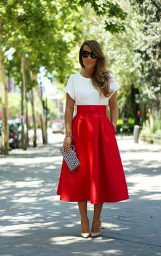 Red midi skirt. love!!