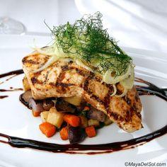 pescado del dia   grilled swordfish · root vegetable hash · swiss chard · arbol piloncillo sauce     www.mayadelsol.com