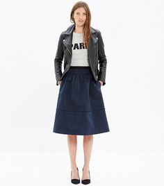 Madewell Satin Pleated Midi Skirt in Navy