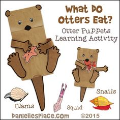 What do Otters Eat? Otter Puppets and Learning Activity for Children Zoo Crafts, Animal Crafts, Puppet Crafts, Animal Activities, Preschool Activities, Children Activities, Summer Activities, Preschool Letters, Preschool Crafts