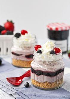 No Bake Lemon Berry Cheesecakes - get the easy dessert recipe on RachelCooks.com #bonnemaman @bonnemamanus #sponsored