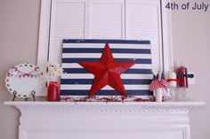 Craftaholics Anonymous®   4th of July Mantel Decorations