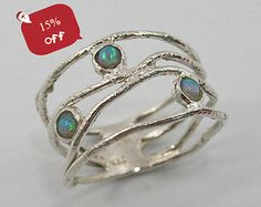 Opal ring. Sterling silver opal ring. wave ring (sr-9773). birthday gift for sister wife girlfriend, opal ring €18,55 EUR STarLighTstudiO3  To buy for me de Marta en Etsy