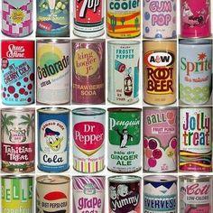 art: retro soda pop cans posted by Ampersand Design Studio Vintage Advertisements, Vintage Ads, Vintage Designs, Vintage Vibes, Vintage Menu, Vintage Makeup, Logos Retro, Pop Cans, Vintage Packaging